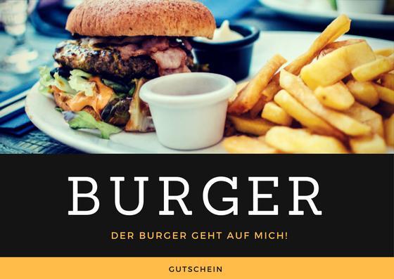 Gutscheinvorlage Burger essen gehen