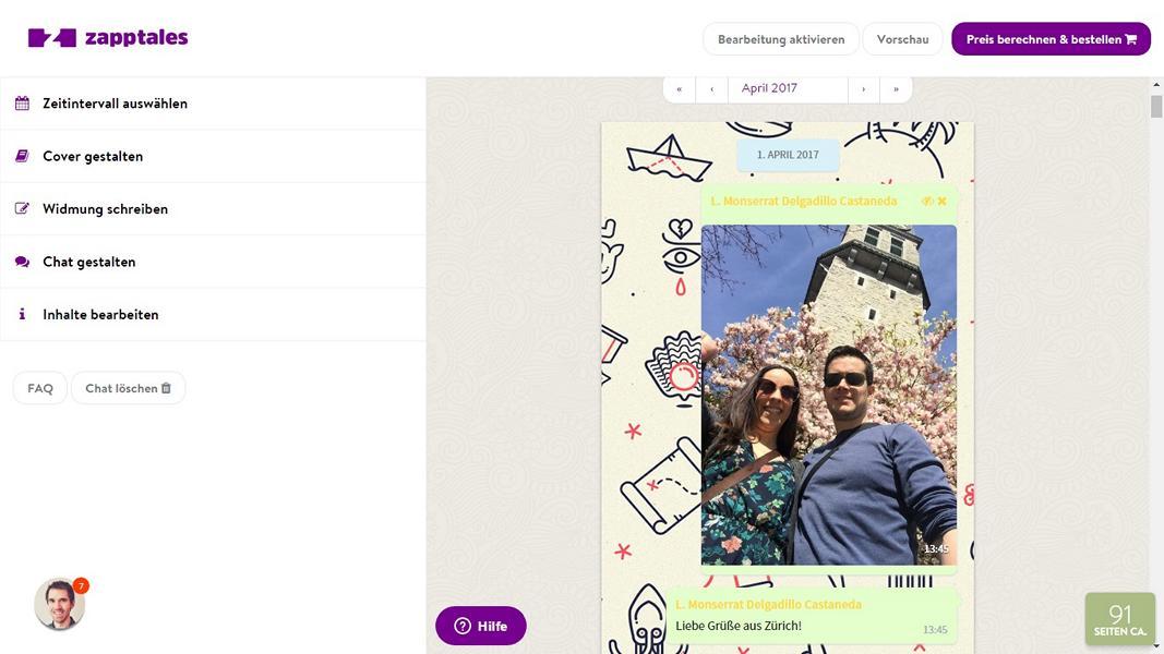 Mit zapptales kann man das Whatsapp Buch sehr einfach und schnell erstellen