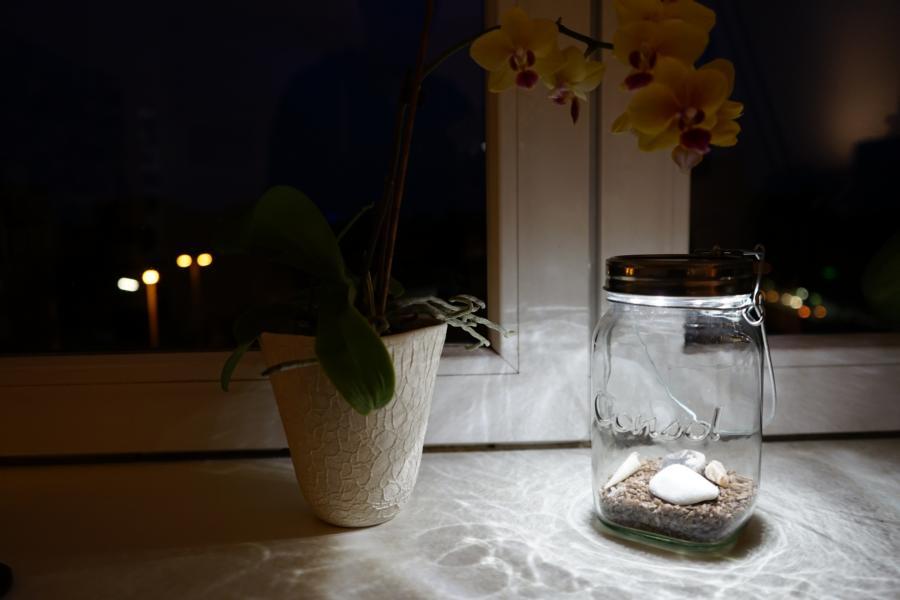 Das Sonnenglas kann auch sehr schön in der Wohnung für Licht sorgen